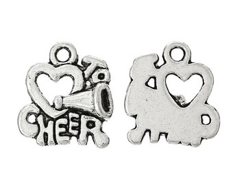 Charms - 10 Love To Cheer Charms - Silver Charms For Jewelry Making - Diy Jewelry For Cheerleaders, Cheer Mom, Squad and Coach - CH-S028