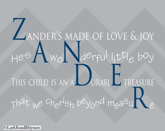 Personalized Baby Gifts Baby Boy Gift Baby Nursery Decor Personalized Baby Items Unique Baby Gift Personalized Nursery Poem 8x10 Zander