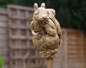 Squirrel -  ornamental garden cane topper.