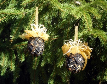 Two Quilted Fabric Pine Cone  Ornaments, A Pair of Fabric Pine Cone Ornaments