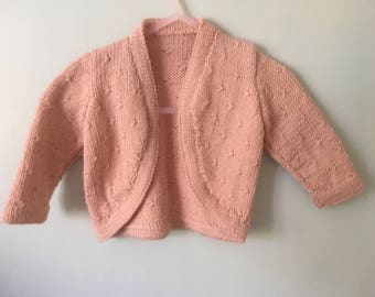 Blush Baby Bolero for 3-6 mth old Hand Knit in Yorkshire in Cashmere and Merino Wool blend yarn