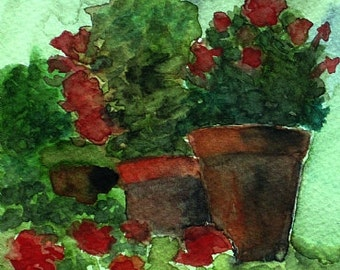 """Geraniums Still Life Painting Watercolor Painting Geraniums Matted Original Plein Air Art by Kathleen Daughan """"It's All About the Pots"""""""