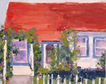 California Plein Air Landscape Oil Painting Original Wall Art Farmhouse Shabby Cottage Chic Decor Home Sweet Home California Artist USA