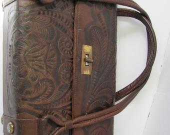 SALE Vintage Tooled Leather Purse / Handbag