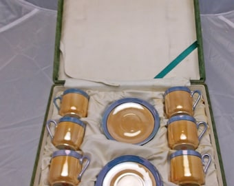 Set of 8 Orange Luster Teacups & Saucers in Original Box, Vintage