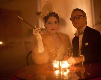 Wedding Veil, Birdcage Veil, Feather Fascinator, Hair Accessory, Champagne Veil, Blindfold Veil, Blusher Veil,Bridal Headdress,1920s Flapper
