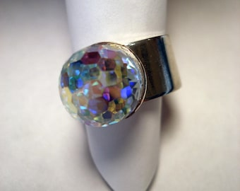 RARE Vintage Swarovski Aurora Borealis Disco Prism Ball Silver plated Adjustable Ring