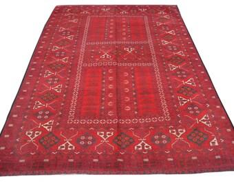 Semi Antique Turkoman ensi Parda rug / hand knotted rug