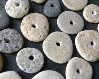 STONE WHEELIES...20 center drilled beach stones ~ pebbles rock:) ~ jewelry DIY ~ grey wedding