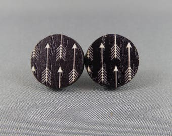 Stud Earrings Wooden - Black and White Arrows
