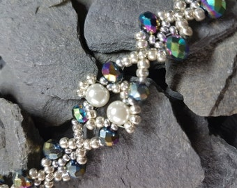 Multi Coloured Crystal and Cream Glass Pearl with Seed Beads Bracelet