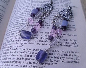 Purple, pink, and clear glass beaded dangle earrings