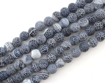 "Agate black 6mm/8mm/10mm/12mm round beads Natural Agate Beads 15"" Dream Fire Dragon Veins Frosted , black agate with special texture-NS-059"