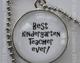 Teacher Gift Necklace Pendant Best Teacher Pendant Necklace Kindergarten Teacher Gift CL Murphy Creative CLMurphyCreative