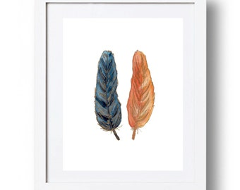 Blue and orange Feathers print Feather printable Boys Art INSTANT DOWNLOAD 5x7 8x10 11x14 Blue and gold wall art Blue and orange home decor