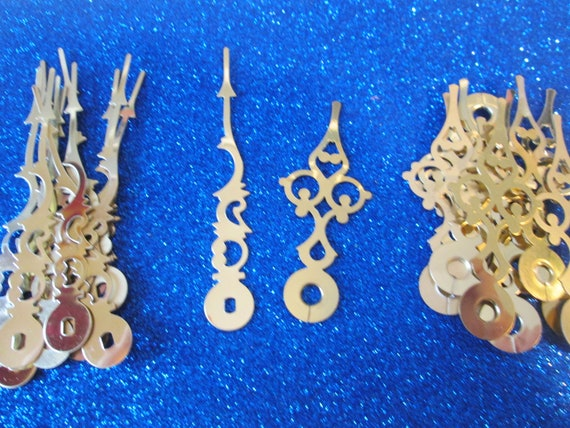 "12 Pairs of New Shiny Brass Plated Steel Serpentine Design Clock Hands - Make Clocks, Jewelry, Steampunk Art and Etc... 3 3/8"" and 2 5/8"""