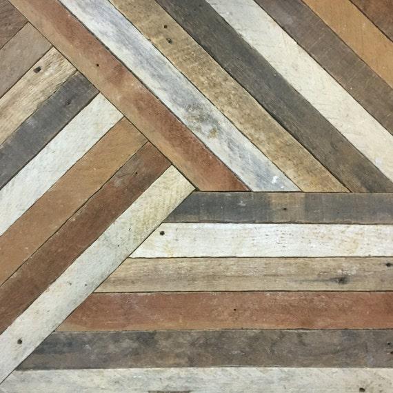 Reclaimed Wood Wall Art, Decor, Lath, Pattern, Geometric, 19 x 19