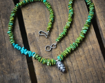 Evergreen Trail Necklace // Turquoise and Silver Pinecone Necklace 18 Inches