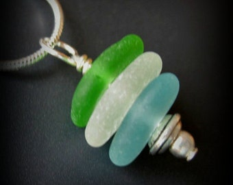 Genuine Sea Glass Jewelry, Beach Combed Blue, Green, White Sea Glass Necklace - Sterling Silver, Seaglass Necklace