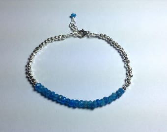 Neon Apatite and Sterling & Fine Silver Bracelet.
