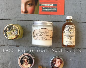 Historically Inspired Skin Care Gift Set:  Beauty Box For The Face and Skin Historical Gift Box, Natural Skin Care Boxed Set, Makeup History