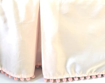 Pink Bed Skirt Flat Style with Pom Pom or Tassel trim