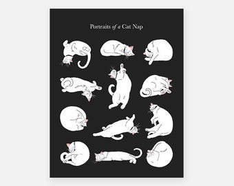 Portraits of a Cat Nap Poster, Cat Nap, Sleeping Cats, Cats Sleeping