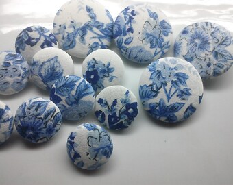 12 Vintage China Blue Flower Fabric Buttons 25 MM or 38 MM, Wedding Decor, Something Blue Button Bridal Embellishment