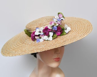 Straw hat with flowers,Wide brim hat lilum,Tea party hats,Boho wedding hat,Straw derby hats,Straw boater hat for races,Canotier flower hat