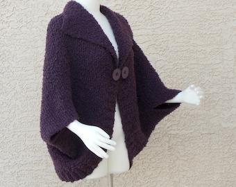 Hand Knit Handmade Cape Bolero Jacket Sweater Plum Boucle Outerwear