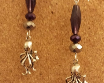 Purple Octopus Dangles