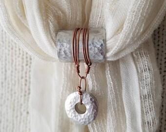Primitive mixed metal hammered aluminum scarf pendant