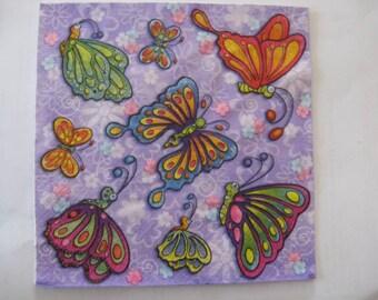 set of 2 butterflies paper napkins