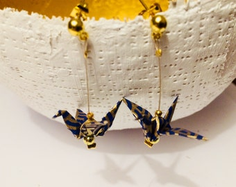 Bird earrings origami Japanese paper gold and Royal Blue with Gold ear studs limited edition