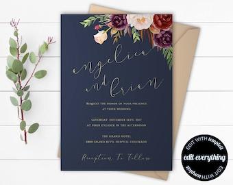 Navy Blue Floral Wedding Invitation Template - Blue Wedding - Instant Download Printable Invitation - Navy Blue Invitation Wedding Template