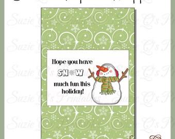 Snowman Popcorn Wrapper 2 - Digital Printable - Immediate Download
