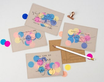 Set of all 5 Confetti Print Postcards - Handmade Jolly Confetti Stitched Postcard / Print