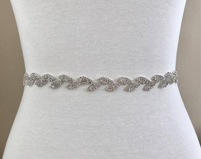 Dainty Bridal Belt, Bridal Sash, Wedding Belt, Wedding Sash Rhinestone and Pearl Sash B11