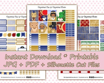 Pharaoh's Place - Ancient Egypt / Egyptian Printable Planner Sticker Kit - EC Vertical