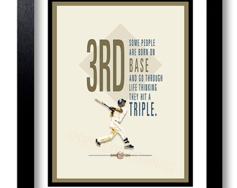 "Baseball quote, Typography, Baseball Art, Gift For Him, Art Print, ""Some people are born on third base... ~Barry Switzer"