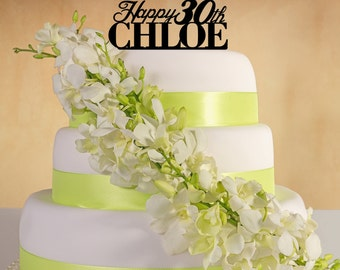Happy Birthday  Cake Topper with name and age. (Bold)