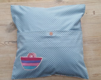 Summer Themed Cushion Cover with Appliqued Back Detail