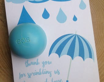 Thank you for sprinkling us with so much love EOS lip balm favor, blue,instant download, thank you, baby sprinkle,baby shower, umbrella,rain