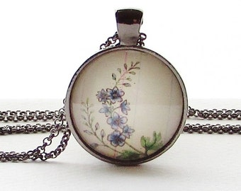 July Birth Month Flower - Larkspur - Glass Pendant Necklace - Purple Flower - Mothers Day Gift - Floral Art Pendant - Botanical Art