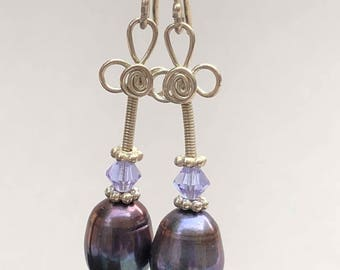 PERFECT PLUM Earrings ~ Plum colored Pearls with Swarovski Crystals