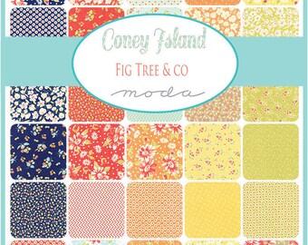 SPRING SALE - Coney Island - Charm Pack - Fig Tree - Moda Fabric