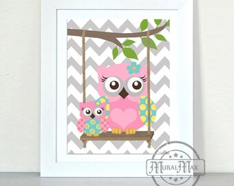 Owls- Nursery art - Owls with Swing Print - wall art , Girls Woodland Owl Nursery Art,