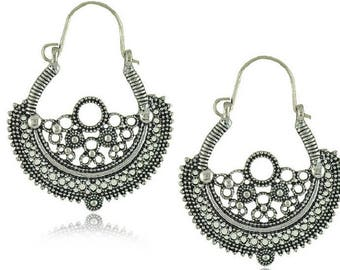 ETHNIC earrings half moon design lace in antique silver