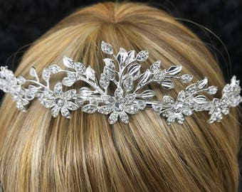 Vintage Secret Silver Garden Tiara With Bead And Rhinestone Detail! For Wedding, Prom, Sweet 16,  Quinceanera, Princess, Bridal Crown Tiara,