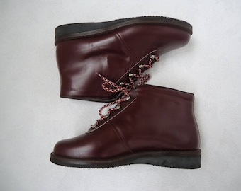 Vintage Pixie Ankle Lace Up Boots Cordovan Burgundy Leather